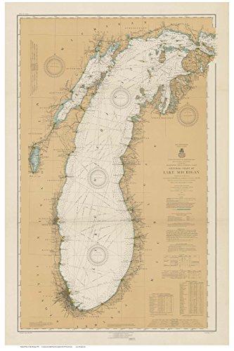 - Lake Michigan 1915 Nautical Map Custom Print - Great Lakes 007 Ed 2:3