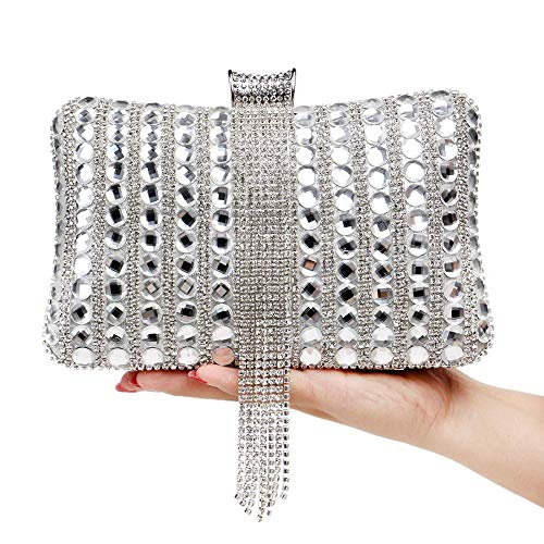 Boda color 12 5cm Sky Diamante Las Cristal De Embrague Bolso Borla Señoras Black Silver Fiesta Noche Suave Bolsos Tamaño Vestido grow 20 6 ZncqZvx4WO