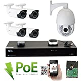 GW Security 8 Channel HD 1920p Security System with 2TB HDD, 4 HD 5MP 1920p 2.8-12mm Varifocal Outdoor Indoor PoE IP Cameras, and 1 20X Zoom 4MP 1520p IP PTZ Camera