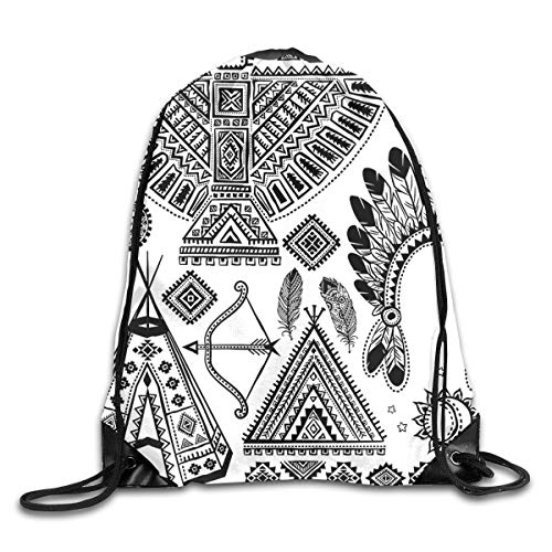 Eleanore Charles Tribal Native American Feather Head Band Ethnic Teepee Tent Bow and Arrow Art Print Newest Drawstring Bag Gym Backpack for Mens Womens
