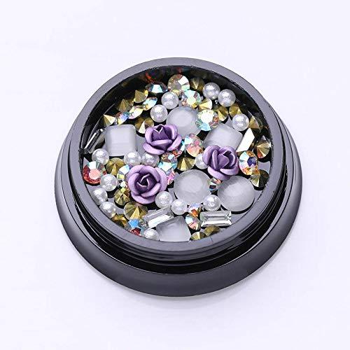 (10pcs Nail Rhinestones Rhombus Crystal AB Glass Flat Back 6X10mm 3D Decorations (Color - 1Box Purple Rose Beads))