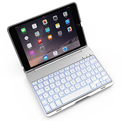 iPad Mini Keyboard Case Bosssee F8S Mini Aluminum Alloy Clamshell Case with 7 Colors Backlit Wireless Bluetooth Keyboard Protective Cover for iPad Mini 2/3 (Silver)