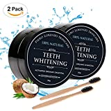 Piero Lorenzo Natural Teeth Whitening Powder 2 Packs  Coconut Activated Charcoal Effective Teeth Whitener with 2 Packs Bamboo Toothbrush