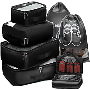 Packing Cubes Travel Set 7 Pc Luggage Carry-On Organizers Toiletry & Laundry Bag (Black)