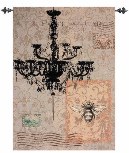 Manual Woodworkers MWW French Bee Corsica Fleur De Lis Lined Tapestry Wallhanging with Rod 26x36 Beige