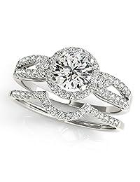 3/4 Carat Halo Daimond Engagement Flower Shape Bridal Set 14K Solid White Gold