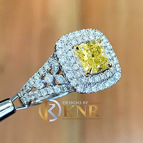 14K Solid White and Yellow Gold Cushion Cut Fancy Yellow And Round Simulated Diamonds Engagement Ring Set Double Halo Wedding Bridal 3.20ctw ()