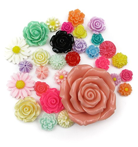 [ALL in ONE 30pcs Mixed Resin Flowers Cabochons Cameo Flat Back for Craft/diy Projects (Flower 30pcs)] (Cameo Flowers Brooch)
