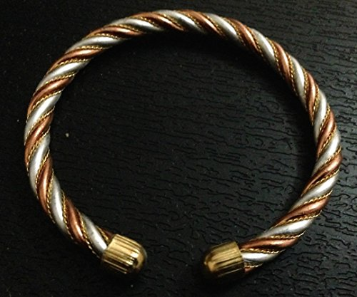 (Energized Adjustable Ashtadhatu (mix of 8 metals) Healing Wrist Bracelet Bangle Brass Copper Silver Toned Meditation Yoga Chakra Balancer - USA Seller)
