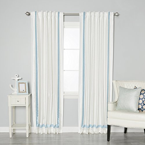 Best Home Fashion Sky Blue Border Faux Silk Ivory Insulated Thermal Blackout Back Tab Curtains 84