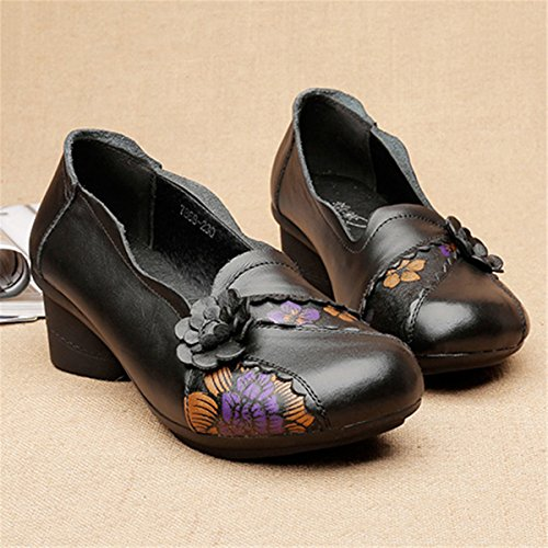 Socofy Leather Pumps-Shoes,Women's Vintage Handmade Printing Flower Pattern Slip on Casual Soft Loafers Black