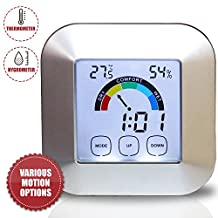 Portable Digital Electronic Indoor Weather Station, Thermometer-Hygrometer with LCD Screen for Baby, Kids, Home, Car, Office, Etc.