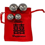 "Double Happiness 3/4"" and 1"" Chinese Health Steel Balls~4 Ball Set"
