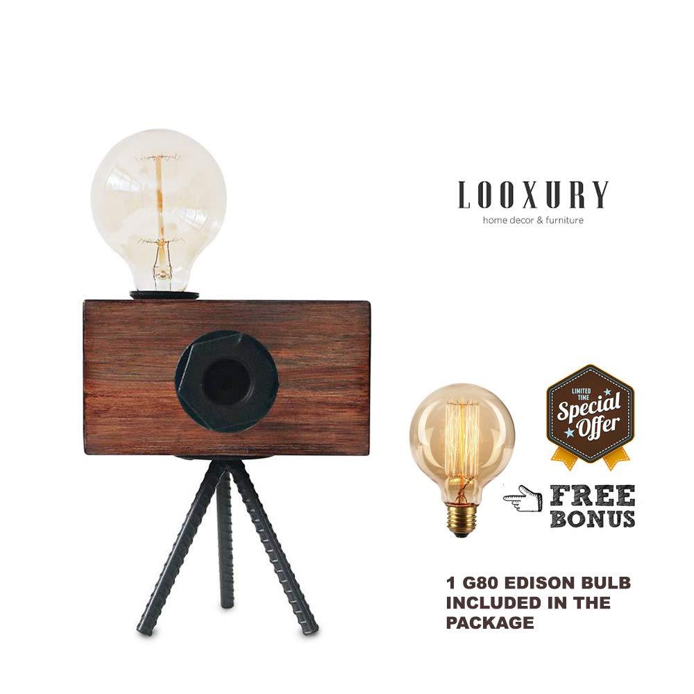 Amazon.com: Lámpara de mesa de madera real industrial ...
