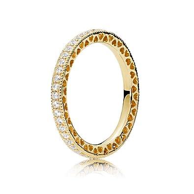 a28a5b0a2 PANDORA Hearts of PANDORA 18k Gold Plated PANDORA Shine Collection Ring,  Size: EUR-