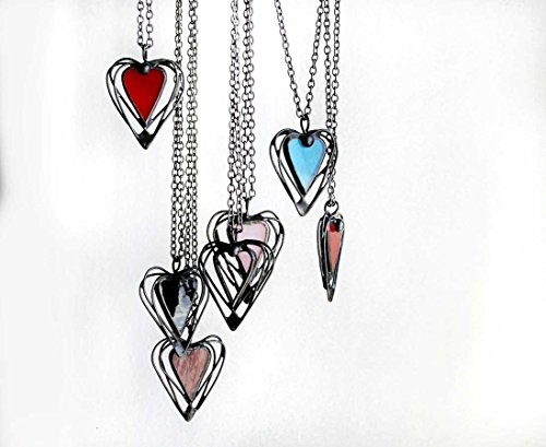 Glass Heart Red Necklace (Heart Necklace – Red Stained Glass - Handmade)