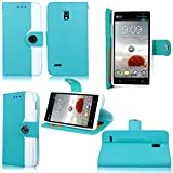 Cellularvilla PU Leather Wallet Card Flip Open Pocket Case Cover for Lg Optimus L9 P769 T-mobile (Baby Blue White)