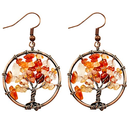 MOWOM Copper Dangle Earrings Simulated Red Agate Tree Of Life ()