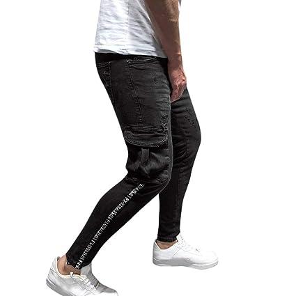 Amazon com: YKARITIANNA Men's Fashion Denim Cotton Straight Hole