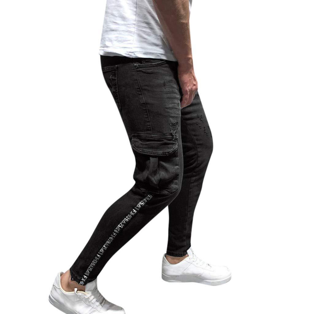 Sunyastor Men's Stretchy Ripped Skinny Biker Jeans Slim Fit Denim Pants Destroyed Hole Distressed Jeans with Pocket Black
