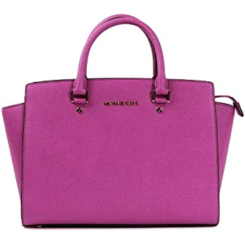 fbbb079d93f8 Michael Kors Selma Handbag Large Satchel East West Leather Tote, Fuchsia