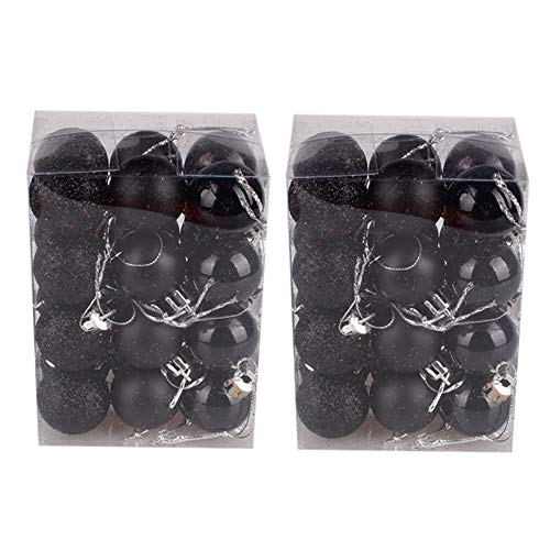 Hot Sale!DEESEE(TM)48PC 30mm Christmas Xmas Tree Ball Bauble Hanging Home Party Ornament Decor (Black)