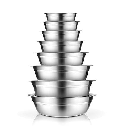 AckMond Acero Inoxidable Bol Set, 4 Cuencos de Metal Prep, Ancho 19 cm, 21 cm, 23 cm, 25 cm