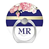 360°Rotation Grip Mobile Phone Finger Ring Holder for All Smartphone and Tablets with Car Mount Stand - Floral Vintage Navy Gold White Stripes