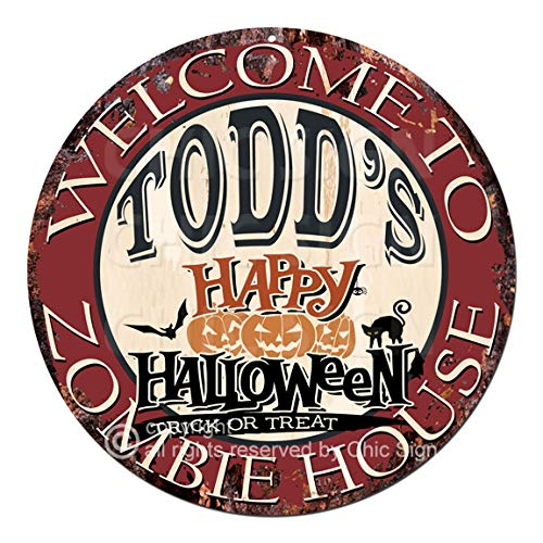 Welcome to The Todd'S Happy Halloween Zombie House Chic Tin Sign Rustic Shabby Vintage Style Retro Kitchen Bar Pub Coffee Shop Man cave Decor Gift Ideas -