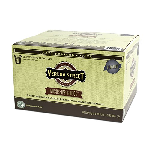 Verena Lane Single Cup Pods (80 Count) Flavored Coffee, Mississippi Grogg, Rainforest Alliance Certified Arabica Coffee, Compatible with Keurig K-cup Brewers