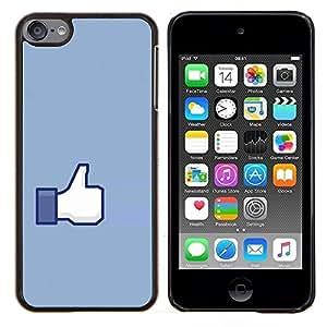 EJOOY---Cubierta de la caja de protección para la piel dura ** Apple iPod Touch 6 6th Touch6 ** --Gesto de mano Pulgar Ok arriba Azul Símbolo simple