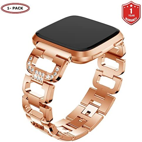 FunBand Correa para Fitbit Versa/Versa 2/Versa Lite para Mujeres, Reloj Reemplazo de Banda Acero Inoxidable Metal Bling con Diamantes para Fitbit Versa/Versa 2/Versa Lite (Oro Rosa): Amazon.es: Deportes y aire libre