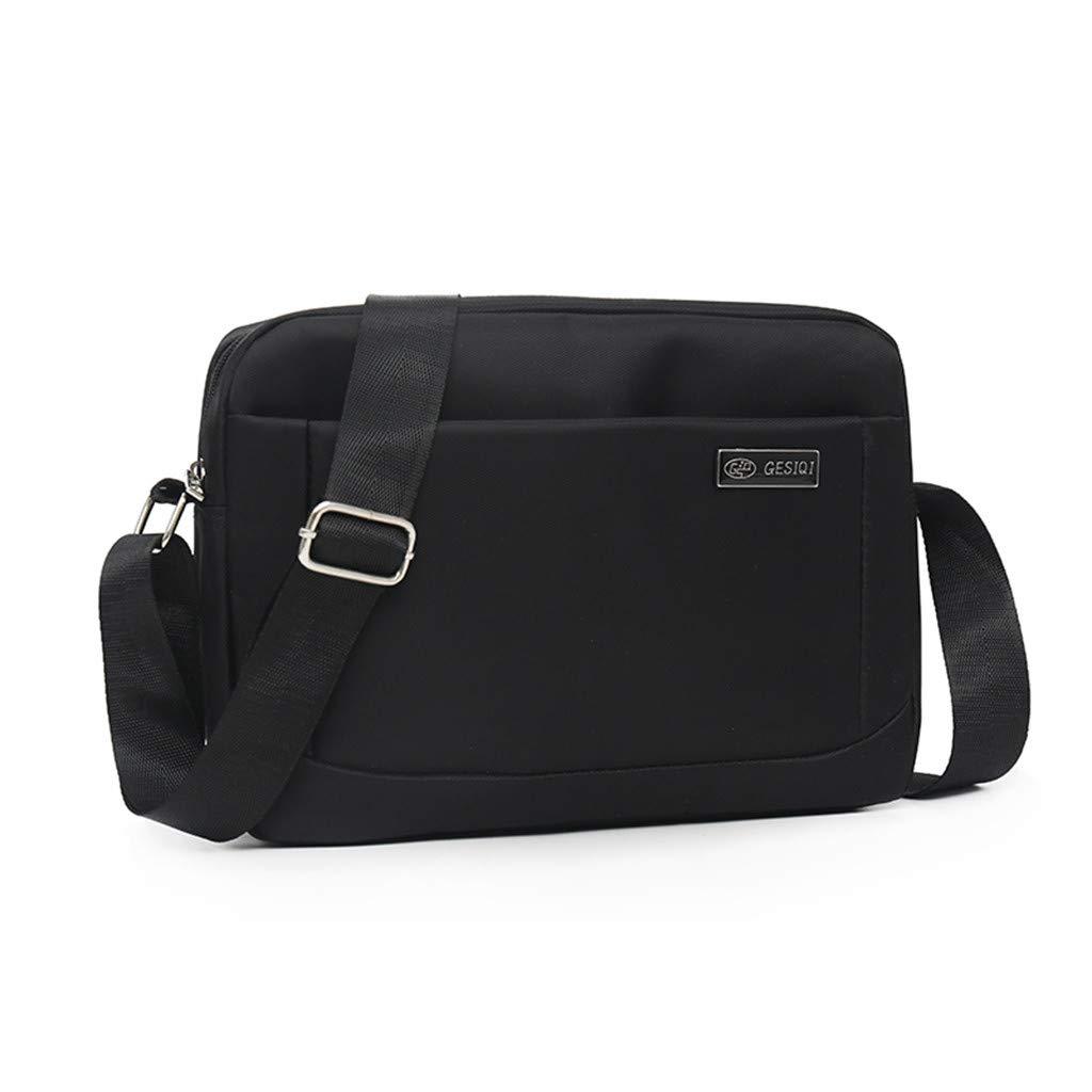 Pinleg Men's Fashion Casual Solid Color Business Shoulder Bag Outdoor Messenger Bags Laptop Briefcase Satchel Shoulder Bag Bookbag (Black)