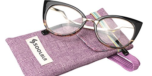SOOLALA Womens 53mm Lens Vintage Unique Ladder Arm Cat Eye Reading Glass, Leopard, - Eye Cat Glasses Small