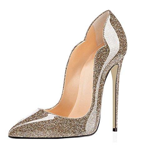 Gold Davanti Donna col Chiuse Heels Scarpe Glitter High Scarpa EDEFS Ritaglio Classico Tacco H17n6wq