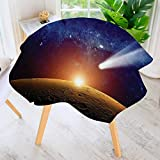UHOO2018 Round Tables in Washable Polyester-Decor Comet Tail Approaching Planet Mars Fantastic Star Cosmos Dark Solar System Scenery Tablecloth –Ideal for Home, Restaurants, Cafés 50'' Round