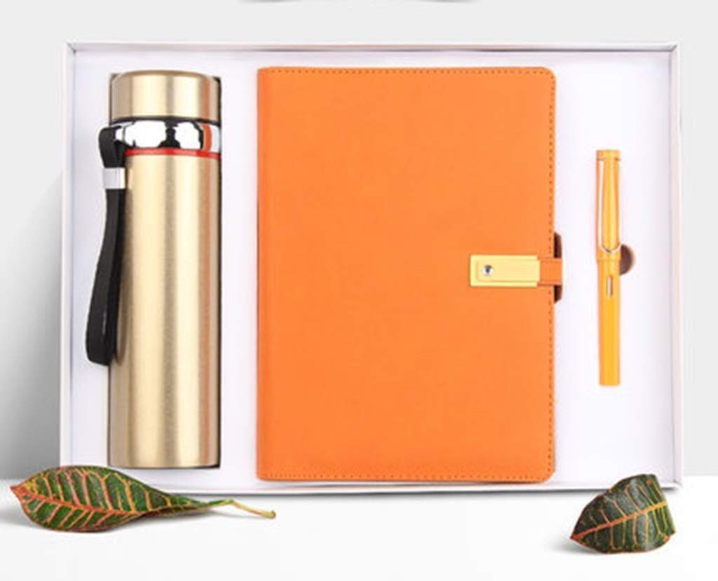 A5 Notebook Set Gift Box Contains Pen and Cup, Business Notebook,Hand Account Book for School Supplies, Office Culture (Color : Orange)