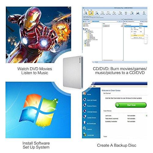 USB 2.0 External DVD Drive, Ultra Slim Portable CD DVD-RW / CD-RW Rewriter Burner super Drive For Mac, Macbook Pro Air iMAC , Laptops, Desktops, Notebooks Silvery by Ploveyy (Image #6)