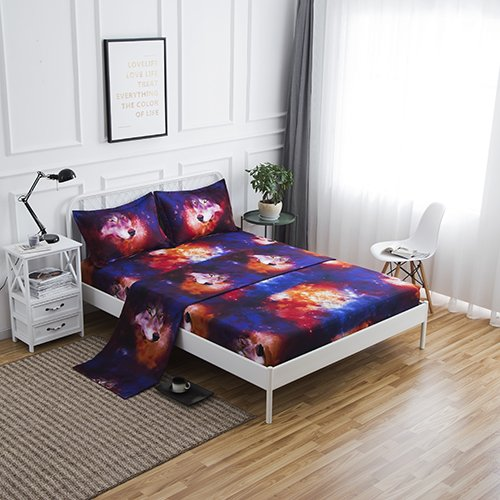 SDIII 3PC Wolf Bed Sheets Microfiber Twin Animal Bedding Sheet Sets With  Flat Sheet, Fitted