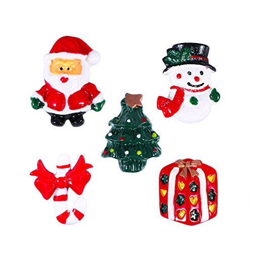 ROSENICE Christmas Decoration Ornaments Snowman Santa Claus Candy Cane Christmas Tree Resin Miniature Pack of 15