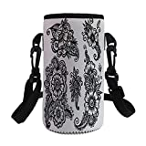Small Water Bottle Sleeve Neoprene Bottle Cover,Henna,Hand Drawn Style Vintage Mehndi Compositions Blossoming Flowers Retro Fun Design Decorative,Black White,Great for Stainless Steel and Plastic/Glas
