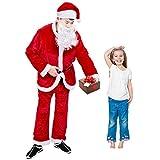 Christmas Santa Claus Costume Deluxe Santa Suit Christmas Onesie Set, 5Pieces