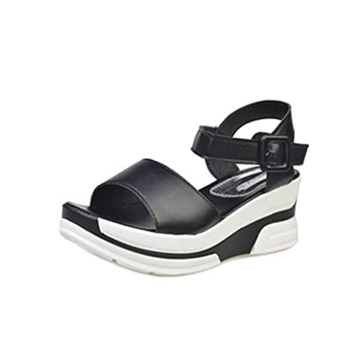 b335c9e44857b9 Creazrise Women Summer Open Toe Chunky Shoes Platform High Heel Gladiator  Sandals White (Black A