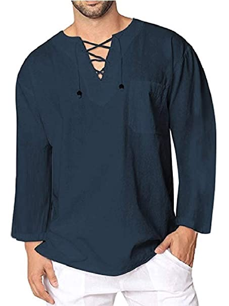 1ec9264381309 Mfasica Men s Plus Size Solid Colored Strappy Linen Casual Tees Work Shirt  at Amazon Men s Clothing store