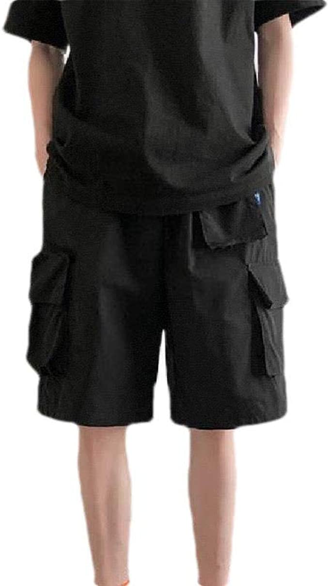 Candiyer メンズモックウエストマルチポケットストレートドローストリングソリッドカーゴショートパンツ