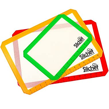 Silicone Non Stick Baking Mats with Measurements (3-Pack) - 2 Half Sheet Liners & 1 Quarter Sheet Mat - Professional Quality, Non Toxic & FDA Approved - Red, Yellow & Green by Silchef