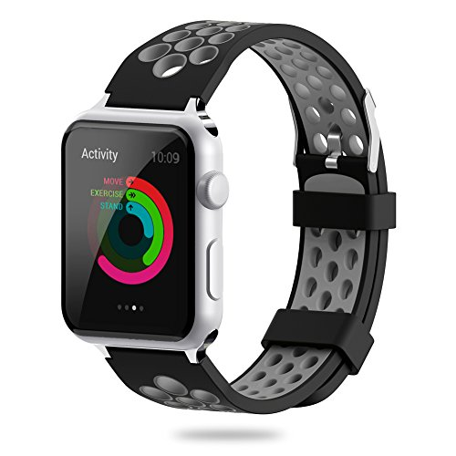 For Apple Watch Band 38mm 42mm,YiJYi Soft Silicone Sport Strap Replacement Wristband iWatch Bands for Apple Watch Series 3,Series 2,Series 1 (1.Gray-Black, 42mm)