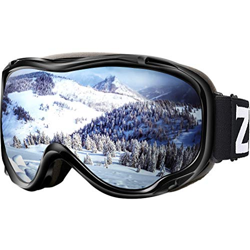 ZIONOR Lagopus Ski Snowboard Goggles UV Protection Anti Fog Snow Goggles for Men Women Youth VLT 11% Black Frame Silver Lens