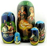 Russian Matryoshka Nativity Scene Nativity of Christ Icon Nesting Doll 7 Inch
