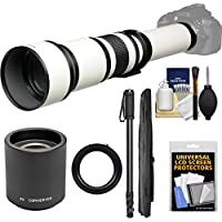 Vivitar 650-1300mm f/8-16 Telephoto Lens (White) (T Mount) with 2x Teleconverter (=2600mm) + Monopod + Kit for Nikon D3200, D3300, D5300, D5500, D7100, D7200, D610, D750, D810 Camera